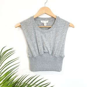 SILENCE + NOISE Grey Ribbed Crop